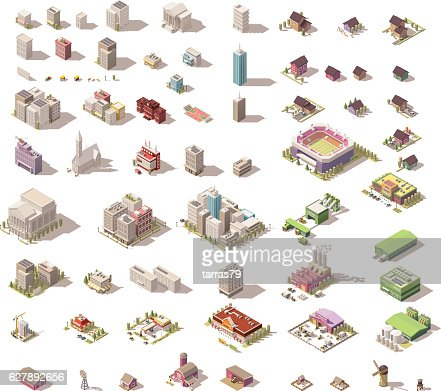 Vector isometric low poly buildings and houses : Vektorgrafik