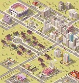 Vector isometric low poly city infrastructure