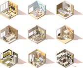 Vector isometric low poly home rooms set. Includes living room, bathroom, kitchen, kids room, garage, bedroom, dining room and other