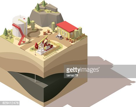 Vector isometric low poly oil pumpjack : stock vector