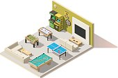 Vector isometric low poly recreation room