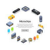 Vector isometric microchips and electronic parts icons in circle shape with place for text illustration