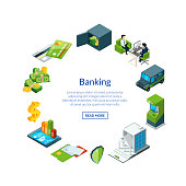 Vector isometric money flow in bank icons in circle shape with place for text illustration