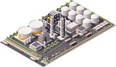 Isometric icon set representing oil refinery