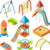 Vector isometric pictures of kids playground with different toys. Playground isometric with ladder and sandbox illustration
