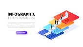 Vector isometric stairs with people for start up infographic. Growth concept