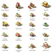 Vector isometric travel and tourism icons representing different tourism related buildings and facilities – hotel, local landmarks, museum, travel and insurance agencies, currency exchange, shops, car