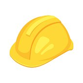 Vector isometric yellow worker hat. Isolated on white background.