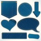 Stitched Textile Denim Patch, Pocket, Fragments, Isolated Vector Design Elements.
