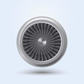 Jet Engine Realistic front view, aircraft turbine energy fan. Vector