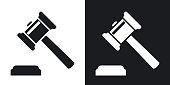 Vector judge gavel icon. Two-tone version on black and white background