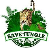 Vector jungle emblem with jaguar leopard and butterfliy