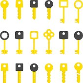 Key icons set. Modern and Antique Keys.