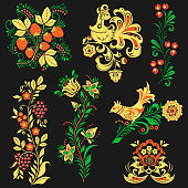 Vector khokhloma pattern design traditional Russia drawn illustration ethnic flower ornament. Khokhloma painting pattern, decoration objects, for poster, banner, print, logo, advertisement design.