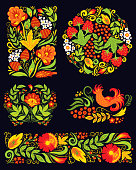 Vector russian ethnic ornament. Khokhloma painting pattern, decoration objects floral style, elements for poster, banner, print, logo, advertisement design.