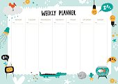Vector kids schedule with cartoon animals and cute elements.  Weekly planner. Light bulb, bird, jellyfish, cactus, cloud, cat, drops, hearts, dog, crocodile, aquarium, flowers. Vector illustration