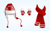Vector realistic illustration of knitted santa hat with earflaps, red mittens and scarf with decorative pattern on them, isolated on background. Christmas traditional clothes for head, hands and neck