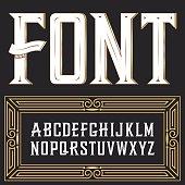 Vector label font with art deco ornament