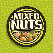 Vector label for Nuts, circle sign with pile of healthy walnut, australian macadamia nut, sweet almond, forest hazelnut, cracked pistachio and peanut, veg mix label with text mixed nuts for vegan stor