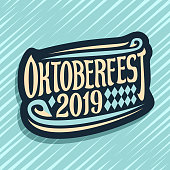 Vector label for Oktoberfest, dark sign with rhombus ornament, decorative swirls and original brush lettering for words oktoberfest 2019 on blue abstract background.