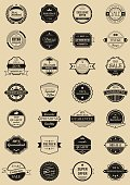 28 vector labels and logotypes. Set of vintage retro stamps, ribbons, frames and marks. Premium quality, discount and sale icons.