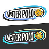 Vector labels for Water Polo sport, flying ball and handwritten words - water polo on black, curved lines around original typography for text - water polo on white background, sports drawn decoration.