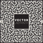 Vector Labyrinth Black And White Maze Frame Background Design Concept