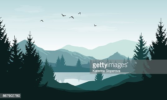 Vector landscape with blue silhouettes of mountains, hills and forest and sky with clouds and birds : Vector Art