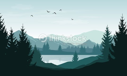 Vector landscape with blue silhouettes of mountains, hills and forest and sky with clouds and birds : stock vector