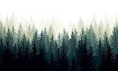 Vector landscape with green silhouettes of coniferous trees in the mist.
