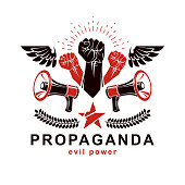Vector leaflet created using clenched fists raised up, freedom wings and loudspeaker equipment. Propaganda as a powerful weapon of influence on social behavior.