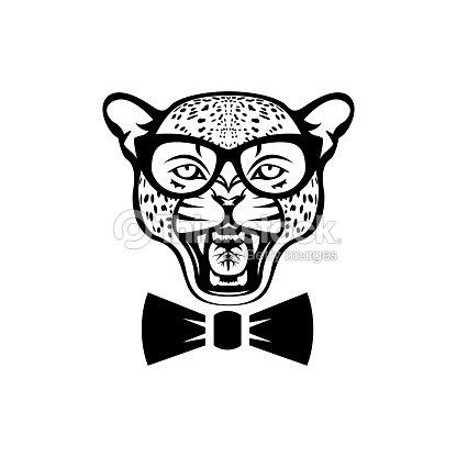 Vektor Leopard Kopf Gesicht Für Retrosymbole Embleme Abzeichen ...
