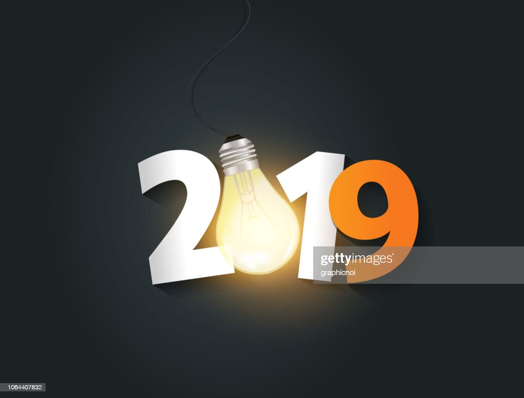 Vector light bulb and number new year creative design vector