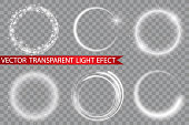 Vector light ring. Round shiny frame with lights dust trail particles isolated on transparent background. Magic concept.EPS 10
