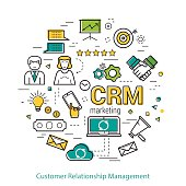 Vector Round Concept of Customer Relationship Management - CRM. Line Art Infographic on white background