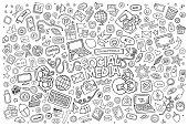 Vector line art Doodle cartoon set of objects and symbols on the Social Media theme