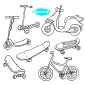 Vector line art set. Doodle sports sketch. Cartoon group of icon. Vintage black illustration isolated on white background Scooter, skate, bike Summer holiday element Real dynamic life for good health