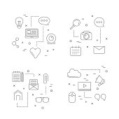 Vector line blog icons infographic concept illustration. Blogging business web marketing