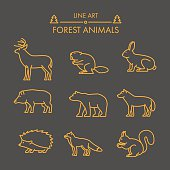 Vector line forest animals icon set. Linear figure deer, rabbit, wolf, bear, boar, fox and squirrel.
