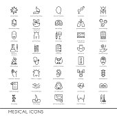 Vector line icons with medical symbols specialization. Medical professions. Line icons of narcology, cosmetology, obstetrics, medical testing and other.