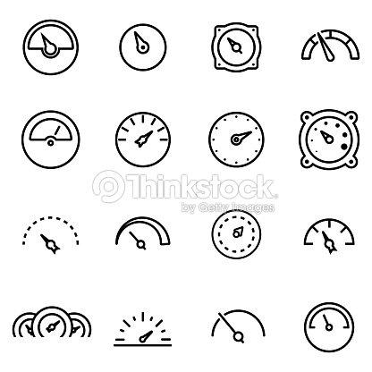 Vector Line Meter Icon Set Vector Art | Thinkstock