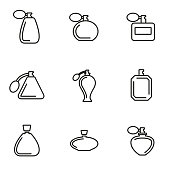 Vector line perfume icon set on white background