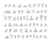 Vector line sports icons. Linear symbol of sportsmen. Open path.