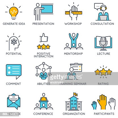 Vector linear icons related to corporate management, business people training : stock vector