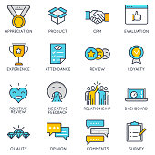 Vector flat linear icons related to feedback, review and customer relationship management. Flat pictograms and infographics design elements