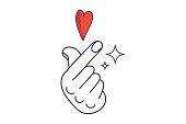 Vector linear illustration: K-Pop and K-Drama Love Finger Hand symbol. Saranghae Korean gesture sign.