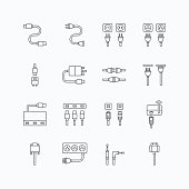 vector linear web icons set - cable wire computer and electricity plug collection of flat line design elements.