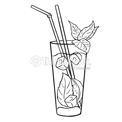 Vecteur lineart mojito cocktail avec des feuilles de - Dessin cocktail ...