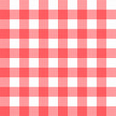 Vector linen gingham checkered blanket tablecloth. Seamless white red cloth table pattern background with natural textile texture. Retro country fabric material for holiday breakfast or dinner picnic