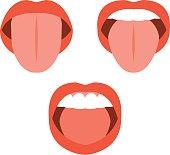 Vector lips, flat design